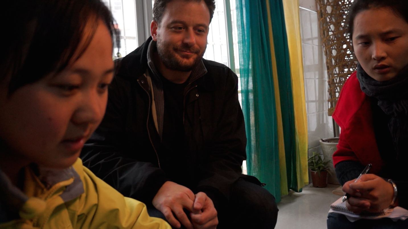 Jonathan Kalafer workshoping a student film with two Chinese Filmmakers